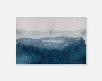 Ocean Print, Huge Wall Art, Beach Decor, Blue Impressionist Painting Print, Ocean Painting Print, Large Abstract Art Blue Artwork Seascape