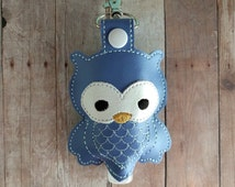 Owl Hand Sanitizer Holder- Periwinkle Embroidered Vinyl with Snap, Great for Backpacks, Bags and Purses, Quick Ship, Assorted Colors