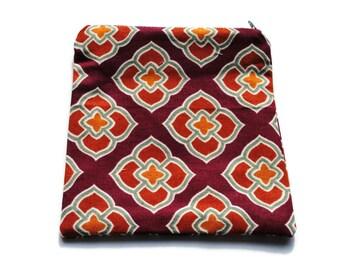 Reusable Zipper Sandwich Bag Cotton Twill Cranberry Gold Green