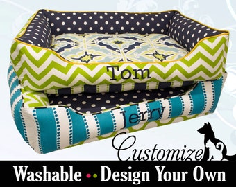 Navy Blue and Green Designer Dog Bed  |  Chevron, Polka Dot, Turquoise | Custom Dog Bed | Washable and High Quality!