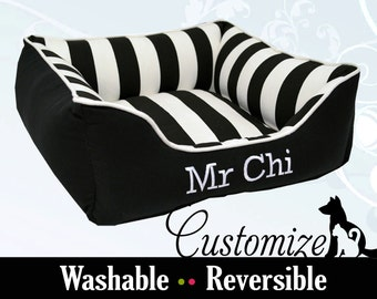 Striking Dog Bed or Cat Bed | Black & White Stripe Pet Bed | Washable and High Quality