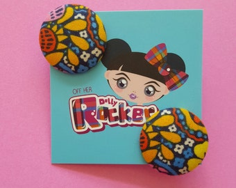 Retro, Floral, Liberty, Button Earrings, Vintage, 60s, Sixties, Mod, Kitsch, Pinup, Studs, WHO'S Off Her Dolly Rocker