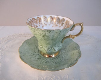 Royal Albert Gossamer Tea Cup Green with Gold Filigree Bone China
