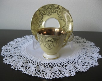 1940s Alka Kunst Demitasse Cup and Saucer - Bavaria - Yellow with Flourished 22kt Gold Accents and Gold Cup Interior