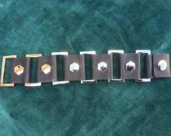 Black Leather wristband with Rectangular Rings and Hexagon Rivets