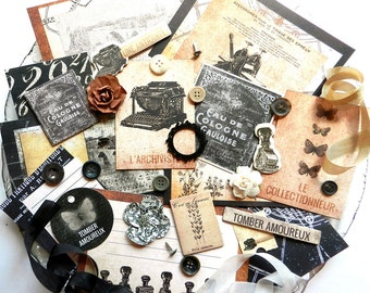 Embellishment Kit / Prima The Archivist / Scrapbook Embellishment / Scrapbooking Supplies / Craft Embellishments / Junk Journal / Paris