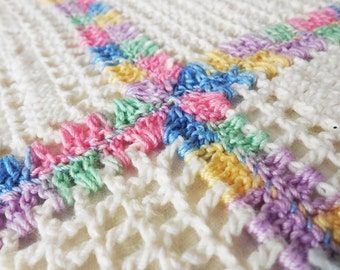 Vintage Hand Crocheted Cotton, Granny Square, Summer Weight, Blanket Throw