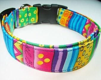 Charming Bright Blue, Hot Pink, Yellow & Green Stripe Dog Collar