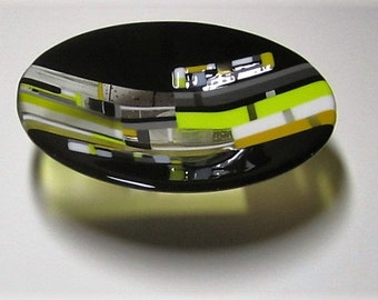 Busy as a Bee Contemporary Fused Glass Bowl