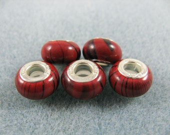 5 red beads with black swirly stripes for your dreads 5mm hole