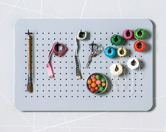 Metal pegboard organizer – Bulletin board - Craft storage - Magnetic board