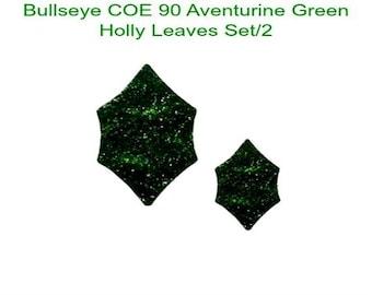 BULLSEYE COE 90 HOLLY Leaves St/2 Aventurine Green Fusible Glass Fusing Supplies