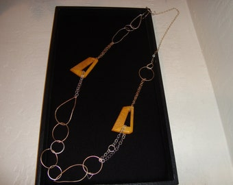 Sterling Silver, Brass BAKELITE soldered necklace