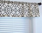 Top  Window Treatment Modern Geometric Print Covington Windsor Black / Ivory Curtain Valance/ Custom Sizing Available!