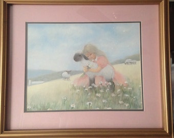 June Kolarich Girl with Lamb Art Print