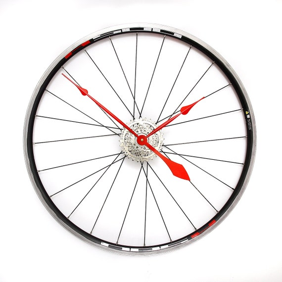 Bike Design Wall Clock : Large wall clock custom colours bicycle wheel bike