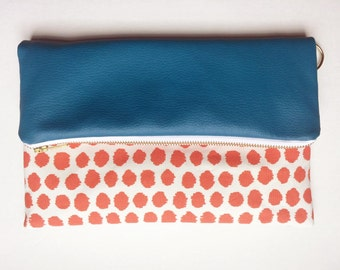 Turquoise and Orange Ikat Dot Fold Over Clutch