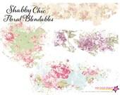 Vintage Shabby Chic Floral Overlays - Blendable - Page Element Blender - Digital Stamp - Digital Page Overlays - Texture Overlay Papers
