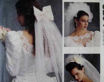 Vintage McCalls Sewing Pattern 5204 Wedding Bridal Veil Pattern Bride Headpiece Pattern Bride Fashion Pattern UNCUT