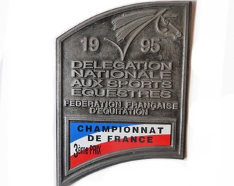 French Equestrian Prize Plaque Championnat de France 1995 3rd Prize Horse Equestrian Award Plaque French Equestrian Award 1995