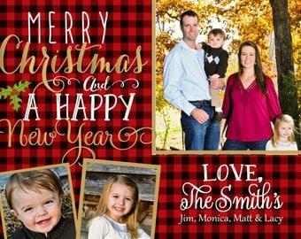 3 photo Plaid Merry Christmas and a Happy New Year Card Printable Invitation