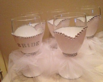 Hand painted bridal wine glass