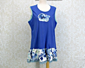 Womans XL,Royal Blue Sleeveless Tunic,100% Linen Print,Bohemian Clothing,Festival Wear,Leganlook Top,Chic Tunic,Floral Top,Boho Vest