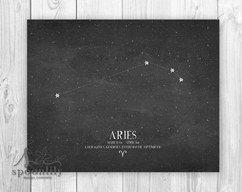 ARIES, Zodiac Aries Constellation Print, Aries Chalkboard Art, Astrology Print, Aries Home Decor, Aries Wall Art, Aries Art Print