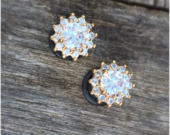 Pair 24k gold plated Faceted clear zircon crystal plugs for gauged ears: 6g (4mm), 4g (5mm), 2g (6mm), 0g (8mm)