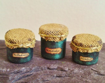 1/12th Scale D/House Miniature Potion Cannisters Made to Order Witch / Wizard