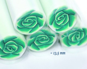 Green Rose Polymer Cane