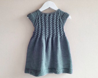 Girl knitted dress, 100% cotton, grey, hand knitted, cotton dress, girl clothes