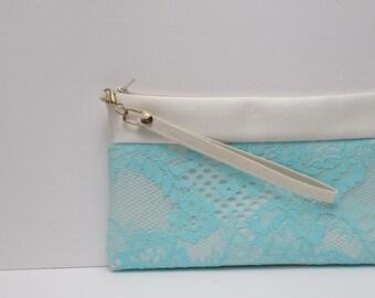 Aqua  wedding clutch ,Ivory Satin clutch, Bridal bag,Aqua lace, Personalized bridesmaid bags,Beach wedding Evening purse Set bridesmaids 3,5