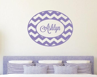 Chevron Wall Decal with Name- Personalized Name Vinyl Decal - Monogrammed Vinyl Wall Lettering - Girl Room Decor - Baby Nursery