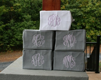 8 Monogrammed Bridesmaid Gifts Waffle Weave Cosmetic Bags