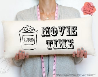 movie time pillow, custom pillow cover, custom throw pillow, personalized pillow, housewarming gift, custom gift, birthday gift, family gift