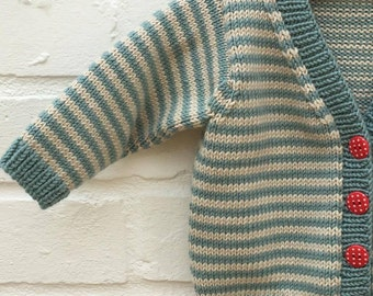 Hand knitted stripey teal and clotted cream baby cardigan - Available to order in sizes 3-6, 6-9, 9-12 and 12-18 months