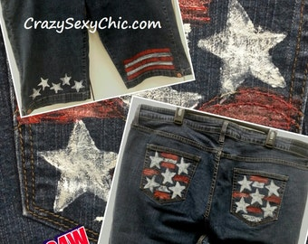 Hand-Painted Flag Inspired Shorts size 24 W Women's