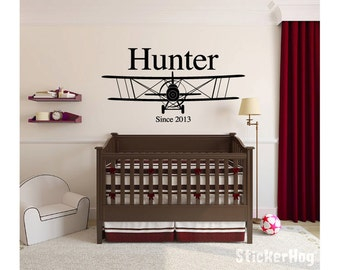 Personalized Biplane Airplane Name Monogram #3 Boys Children's Room Vinyl Wall Decal for Home Decor