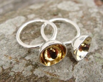 Contemporary Pod Ring - Keum Boo 24ct Gold & Fine Silver