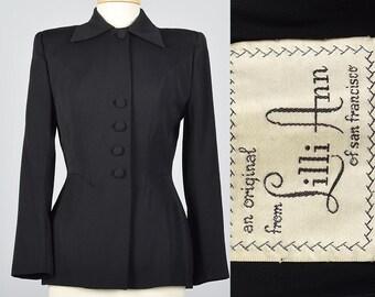 Small Lilli Ann 1950s Blazer 50s Jacket Fitted Hourglass Wasp Waist Blazer Black Wool Gabardine Blazer Mid Century Jacket Vintage Classic