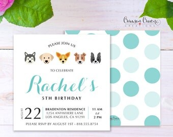 Puppy Child's Birthday Invitation - Baby, Toddler, Kid's Dog Birthday Party Invite - Doggie Party - Digital File