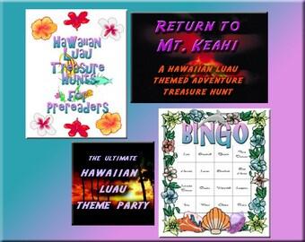 4 Hawaiian Luau Downloads - Luau Bingo, Treasure Hunt Puzzles and more - for a great Hawaiian Luau!