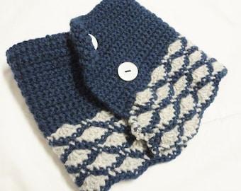Collar warmer Scarf Neckwarmer blue grey handknitted