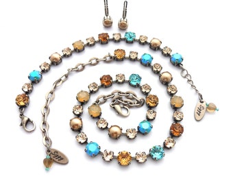 Swarovski Crystal Necklace or Set, Mixed 8mm/6mm, Neutrals, Topaz, Brown, Blue, Pearls, Autumn's Kiss, Siggy Jewelry, FREE SHIPPING