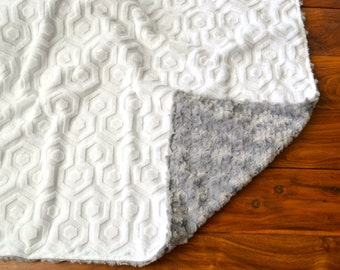 White Geometric and Gray Rosette Blanket - Ultra Soft Minky Blanket - Personalized White and Grey Baby Blanket