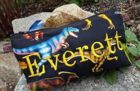 Dinosaur Pencil Case, Personalized School Supply Bag