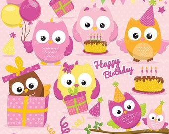 80% OFF SALE Birthday owls girls, clipart commercial use, vector graphics, digital clip art, digital images - CL651