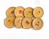Vintage Coasters, Wood Coasters, Fruit Coasters, Cherry Coaster