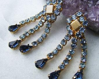 Vintage Blue Diamante Drop Earrings Clip on Rhinestone Earrings